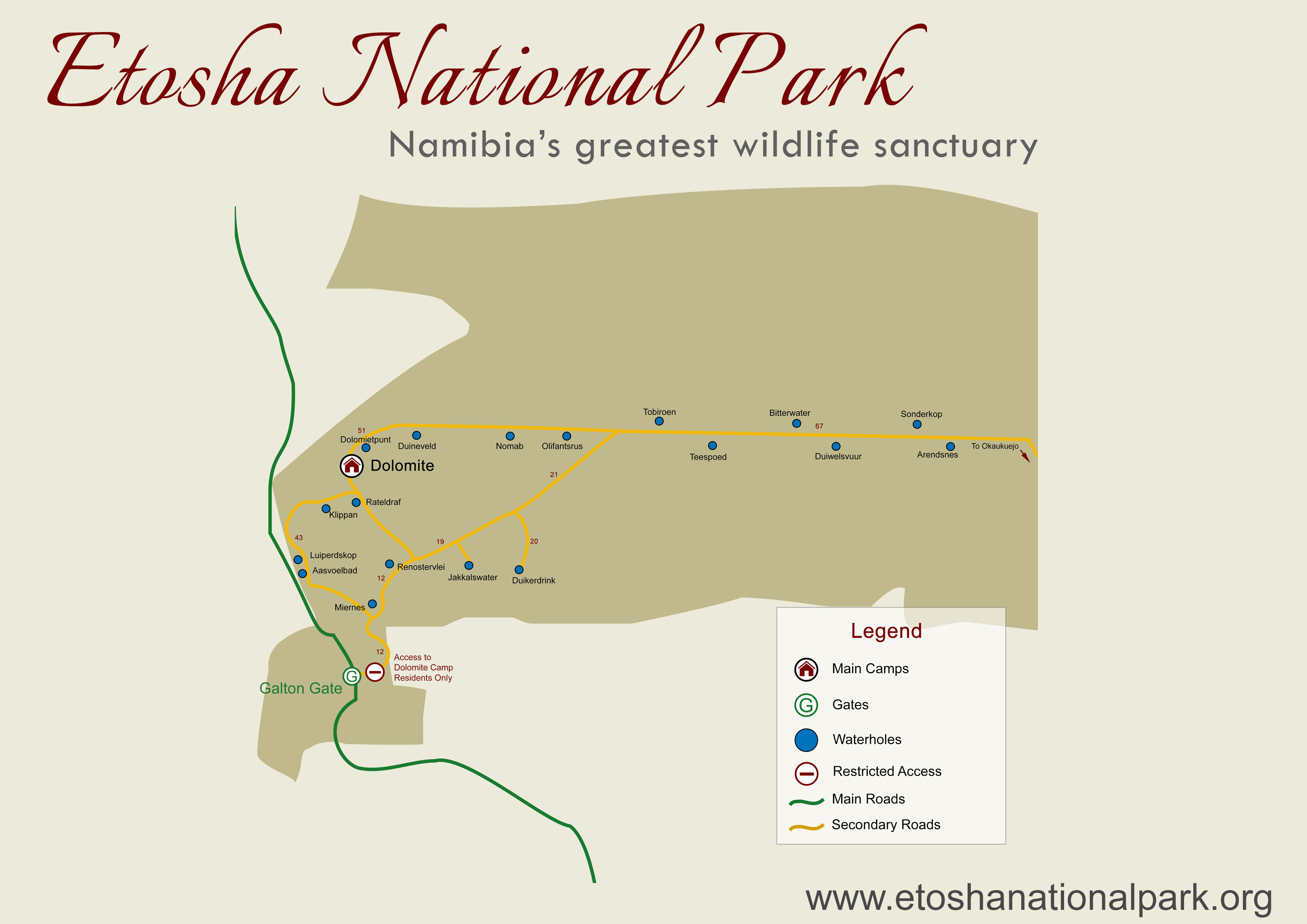 Map of Etosha National Park West, Namibia