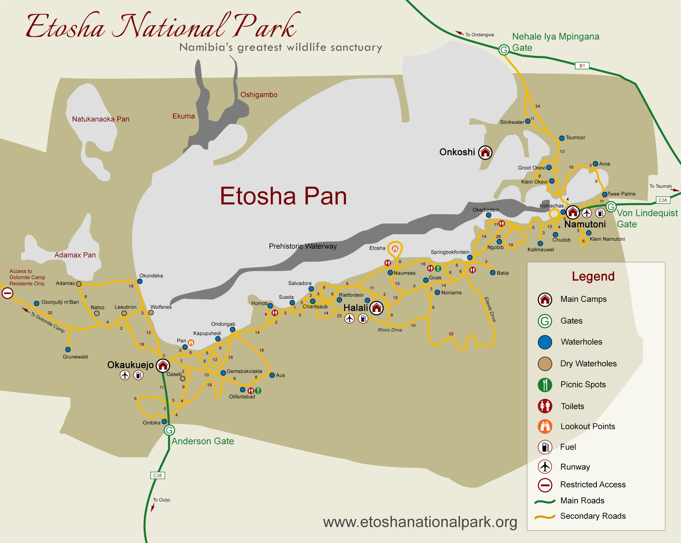 Map Etosha National park East, Namibia: waterholes and accomodations