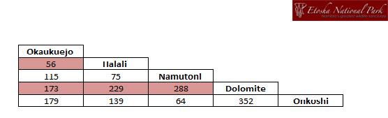 Etosha Distance Chart