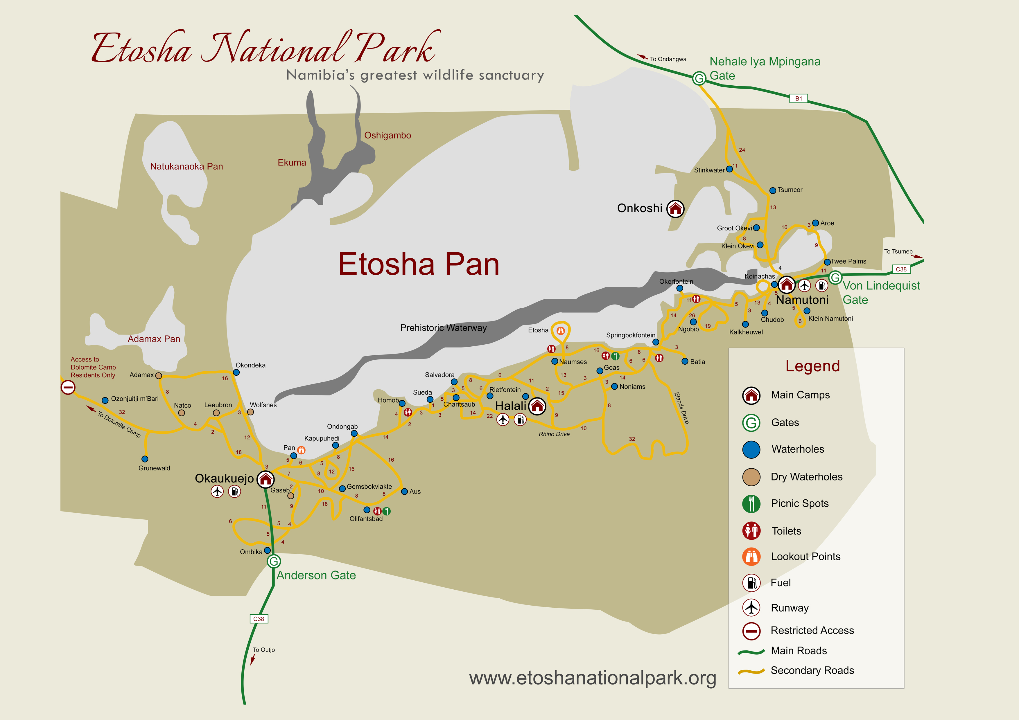 Etosha National Park Map & Distances on map of kerala, map clock, map region, map of all montana towns, map design, map maps, map orientation, map of texas with mileage, map my run, map history, map travel, map making, map longitude, map online, map key legend, map date, map language, map of texas speed limits, map of irish hills michigan, map state,